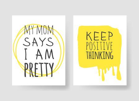 Ensemble de 2 cartes avec illustration et texte dessinés à la main. Citation positive pour aujourd'hui et élément de style doodle. Oeuvre d'art à l'encre créative. Dessin vectoriel réel