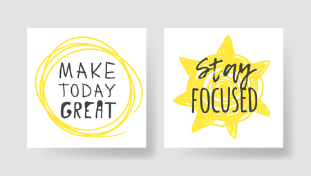 Set of 2 cards with Hand drawn illustration and text. Positive quote for today and doodle style element. Creative ink art work. Actual vector drawing Ilustração Vetorial