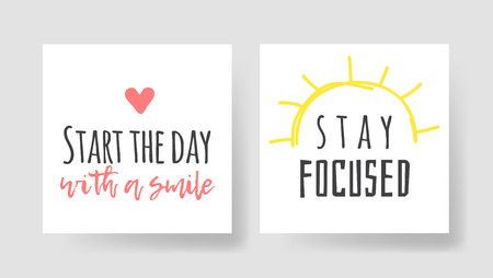 Set of 2 cards with Hand drawn illustration and text. Positive quote for today and doodle style element. Creative ink art work. Actual vector drawing Stockfoto - 124951547