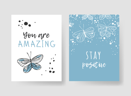 Set of 2 cards with Hand drawn illustration and text. Positive quote for today and doodle style element. Creative ink art work. Actual vector drawing Banco de Imagens - 124951548