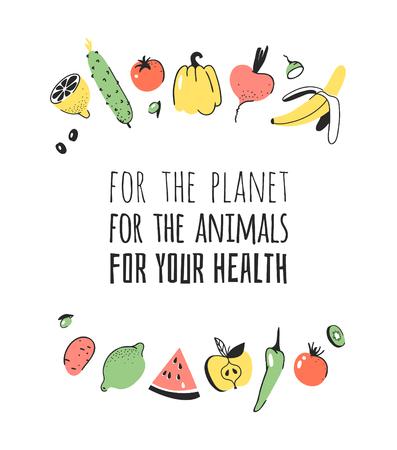 野菜、果物、環境にやさしい言葉の手描きセット。ベクター芸術的な落書き描画食品とビーガンの引用。ベジタリアンイラストと肯定的なテキスト