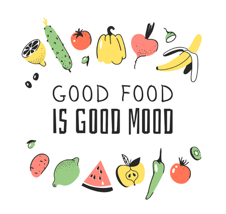 Hand drawn set of vegetables, fruits and eco friendly words. Vector artistic doodle drawing food and Vegan quote. Vegetarian illustration and positive text GOOD FOOD IS GOOD MOOD