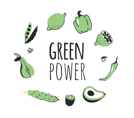 Hand drawn set of vegetables, fruits and eco friendly words. Vector artistic doodle drawing food and Vegan quote. Vegetarian illustration and positive text GREEN POWER