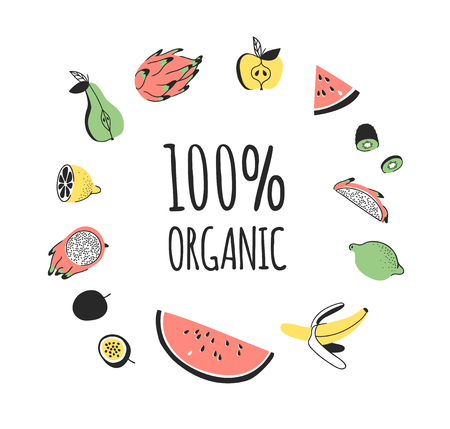 Hand drawn set of vegetables, fruits and eco friendly words. Vector artistic doodle drawing food and Vegan quote. Vegetarian illustration and positive text 100% ORGANIC