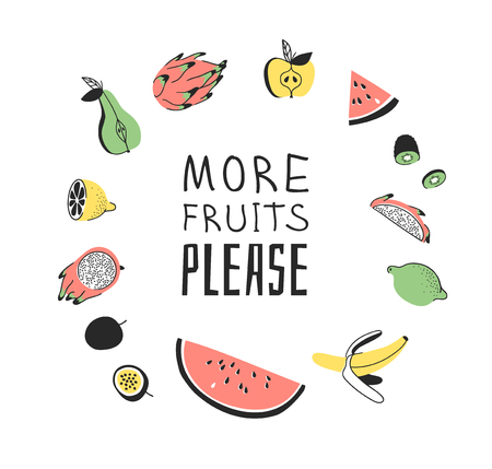 Hand drawn set of vegetables, fruits and eco friendly words. Vector artistic doodle drawing food and Vegan quote. Vegetarian illustration and positive text MORE FRUITS PLEASE