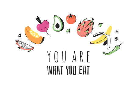 Hand drawn set of vegetables, fruits and eco friendly words. Vector artistic doodle drawing food and Vegan quote. Vegetarian illustration and positive text YOU ARE WHAT YOU EAT