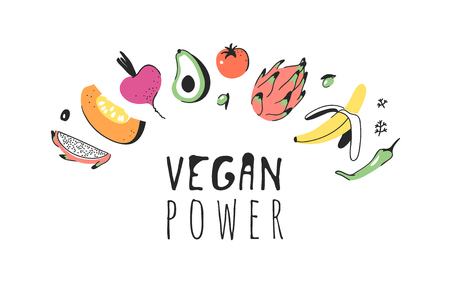 Hand drawn set of vegetables, fruits and eco friendly words. Vector artistic doodle drawing food and Vegan quote. Vegetarian illustration and positive text VEGAN POWER