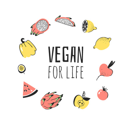 Hand drawn set of vegetables, fruits and eco friendly words. Vector artistic doodle drawing food and Vegan quote. Vegetarian illustration and positive text VEGAN FOR LIFE