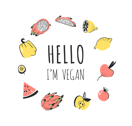 Hand drawn set of vegetables, fruits and eco friendly words. Vector artistic doodle drawing food and Vegan quote. Vegetarian illustration and positive text HELLO IM VEGAN