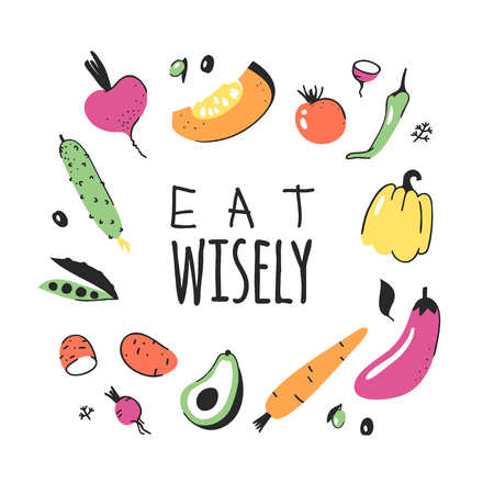 Hand drawn set of vegetables, fruits and eco friendly words. Vector artistic doodle drawing food and Vegan quote. Vegetarian illustration and positive text EAT WISELY