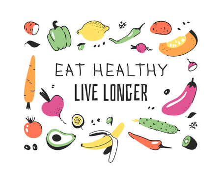Hand drawn set of vegetables, fruits and eco friendly words. Vector artistic doodle drawing food and Vegan quote. Vegetarian illustration and positive text EAT HEALTHY LIVE LONGER