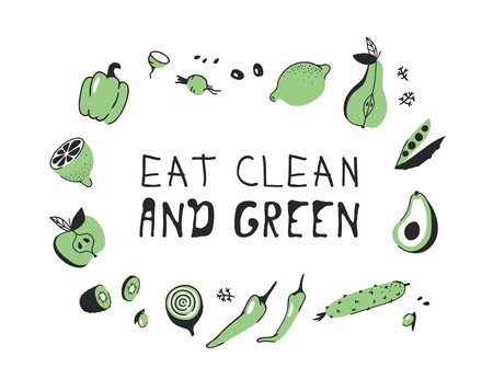 Hand drawn set of vegetables, fruits and eco friendly words. Vector artistic doodle drawing food and Vegan quote. Vegetarian illustration and positive text EAT CLEAN AND GREEN