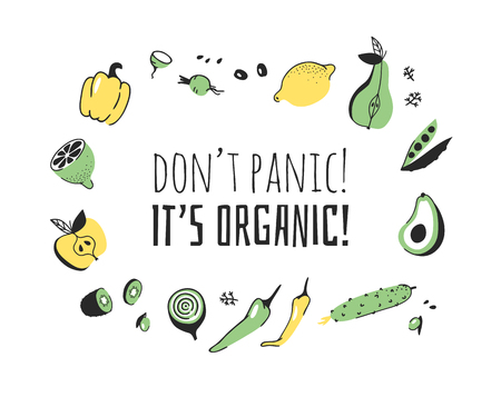 Hand drawn set of vegetables, fruits and eco friendly words. Vector artistic doodle drawing food and Vegan quote. Vegetarian illustration and positive text DONT PANIC, ITS ORGANIC Illustration