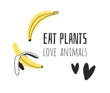 Hand drawn set of vegetables, fruits and eco friendly words. Vector artistic doodle drawing food and Vegan quote. Vegetarian illustration and positive text EAT PLANTS, LOVE ANIMALS Illustration