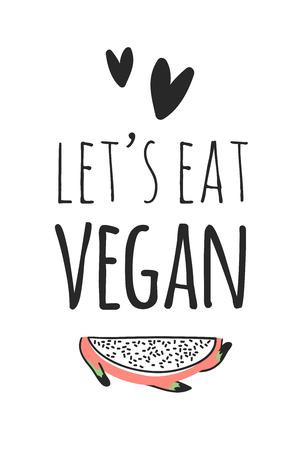 Hand drawn set of vegetables, fruits and eco friendly words. Vector artistic doodle drawing food and Vegan quote. Vegetarian illustration and positive text LETS EAT VEGAN Illustration
