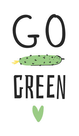 Hand drawn set of vegetables, fruits and eco friendly words. Vector artistic doodle drawing food and Vegan quote. Vegetarian illustration and positive text GO GREEN