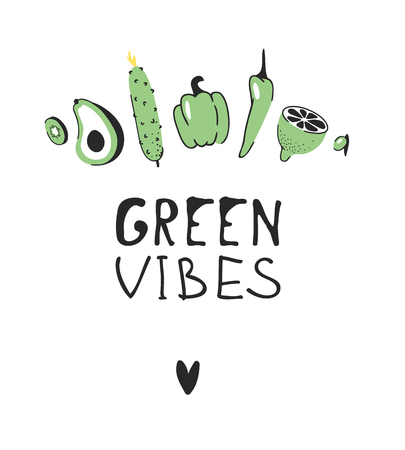 Hand drawn set of vegetables, fruits and eco friendly words. Vector artistic doodle drawing food and Vegan quote. Vegetarian illustration and positive text GREEN VIBES