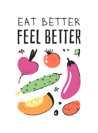 Hand drawn set of vegetables, fruits and eco friendly words. Vector artistic doodle drawing food and Vegan quote. Vegetarian illustration and positive text EAT BETTER, FEEL BETTER Фото со стока - 128486997