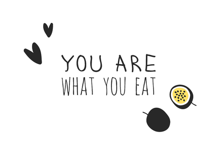Hand drawn set of vegetables, fruits and eco friendly words. Vector artistic doodle drawing food and Vegan quote. Vegetarian illustration and positive text YOU ARE WHAT YOU EAT Foto de archivo - 128487002