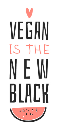 Hand drawn set of vegetables, fruits and eco friendly words. Vector artistic doodle drawing food and Vegan quote. Vegetarian illustration and positive text VEGAN IS THE NEW BLACK