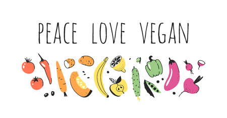 Hand drawn set of vegetables, fruits and eco friendly words. Vector artistic doodle drawing food and Vegan quote. Vegetarian illustration and positive text PEACE LOVE VEGAN