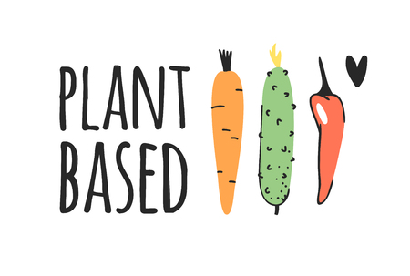 Hand drawn set of vegetables, fruits and eco friendly words. Vector artistic doodle drawing food and Vegan quote. Vegetarian illustration and positive text PLANT BASED