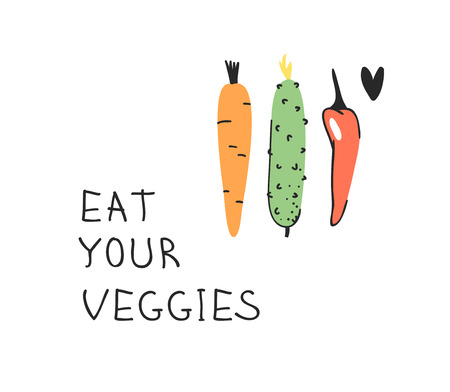 Hand drawn set of vegetables, fruits and eco friendly words. Vector artistic doodle drawing food and Vegan quote. Vegetarian illustration and positive text EAT YOUR VEGGIES Illustration