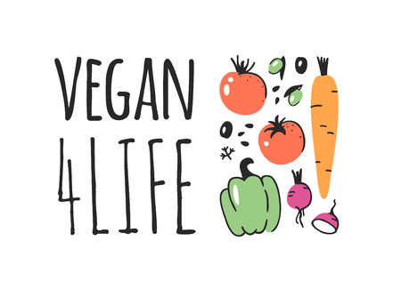 Hand drawn set of vegetables, fruits and eco friendly words. Vector artistic doodle drawing food and Vegan quote. Vegetarian illustration and positive text VEGAN 4 LIFE