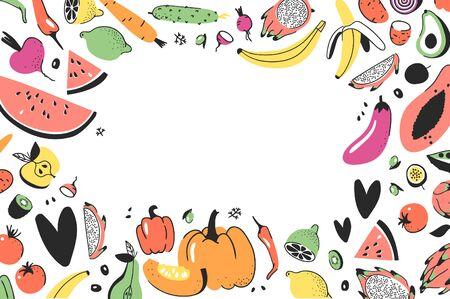 Frame with Hand drawn vegetables, fruits. Vector artistic doodle drawing Vegan food . Vegetarian illustration Ilustração