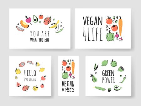 Set of Hand drawn vegetables, fruits and eco friendly words. Vector artistic doodle drawing food and Vegan quote cards. Vegetarian illustration and positive text Ilustração