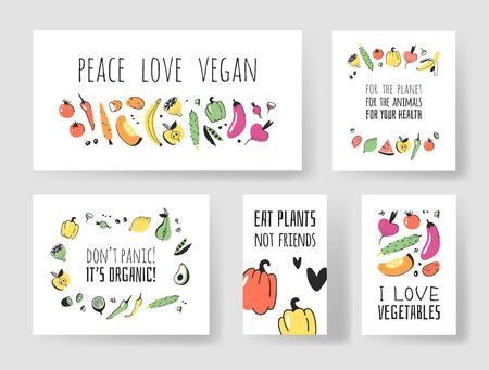 Set of Hand drawn vegetables, fruits and eco friendly words. Vector artistic doodle drawing food and Vegan quote cards. Vegetarian illustration and positive text Vectores
