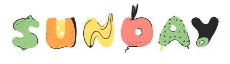 Cartoon vector illustration vegetables and fruits and word SUNDAY. Hand drawn drawing vegetarian food. Actual Creative Vegan art work