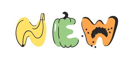 Cartoon vector illustration vegetables and fruits and word NEW. Hand drawn drawing vegetarian food. Actual Creative Vegan art work Illustration