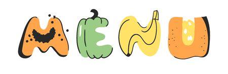 Cartoon vector illustration vegetables and fruits and word MENU. Hand drawn drawing vegetarian food. Actual Creative Vegan art work Illustration