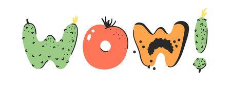 Cartoon vector illustration vegetables and fruits and word WOW. Hand drawn drawing vegetarian food. Actual Creative Vegan art work Stock fotó - 128487050
