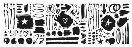 Set of hand drawn pattern with black paint object for design use. Abstract brush drawing. Vector art illustration grunge Illusztráció