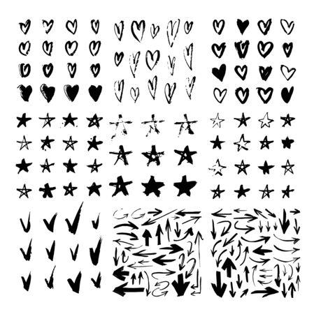 Ensemble de motifs dessinés à la main avec un objet de peinture noire pour une utilisation de conception. Dessin abstrait au pinceau. Vector art illustration grunge coeurs, étoiles