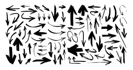 Set of hand drawn black paint object for design use. Abstract brush drawing. Vector art illustration grunge arrows