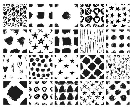 Set of hand drawn seamless pattern with black paint object for design use. Abstract brush drawing. Vector art illustration grunge
