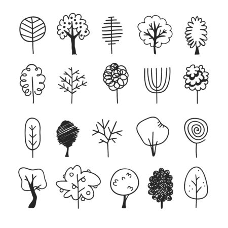 Hand drawn set of trees. Eco background. Abstract  doodle drawing woods. Vector art illustration plants Stock fotó - 126877783
