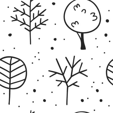 Hand drawn seamless pattern with trees. Eco background. Abstract  doodle drawing woods. Vector art illustration plants