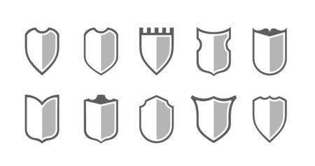 Elementos de diseño de imágenes prediseñadas planas. Conjunto de Vector conjunto de silueta de escudo. Diferentes signos de escudo de armas