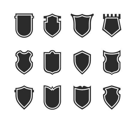 Elementi di disegno di clipart piatto. Set di set di vettore di sagoma scudo. Diversi segni di stemmi