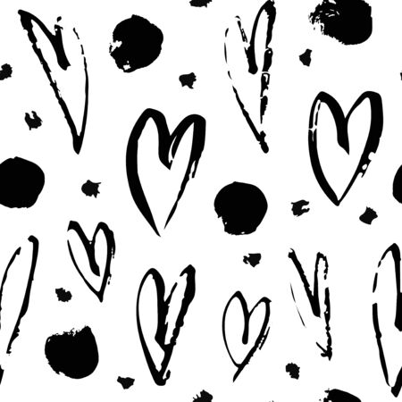 Hand drawn paint seamless pattern. Hearts background. Abstract brush drawing. Grunge Vector art illustration  イラスト・ベクター素材