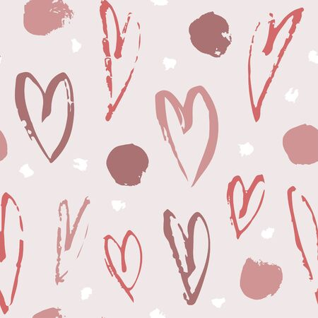 Hand drawn paint seamless pattern. Hearts background. Abstract brush drawing. Grunge Vector art illustration Illustration