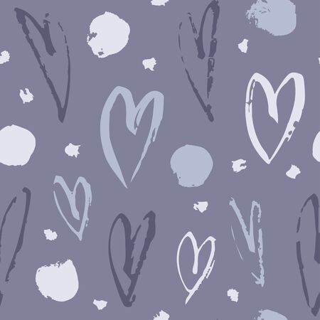 Hand drawn paint seamless pattern. Hearts background. Abstract brush drawing. Grunge Vector art illustration 向量圖像