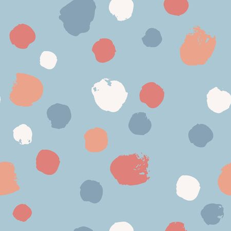 Hand drawn seamless pattern with paint circles. Abstract brush background. Grunge vector illustration