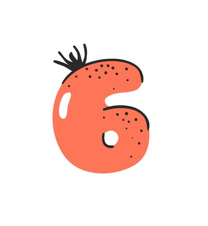 Cartoon vector illustration vegetables and fruits ABC. Hand drawn font with vegan food. Actual Creative art vegetarian alphabet. Number six