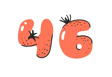 Cartoon vector illustration vegetables and fruits ABC. Hand drawn font with vegan food. Actual Creative art vegetarian alphabet. Number forty six Illusztráció