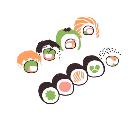 Hand drawn illustration sea food. Creative ink art work Asian dinner. Actual vector drawing sushi roll